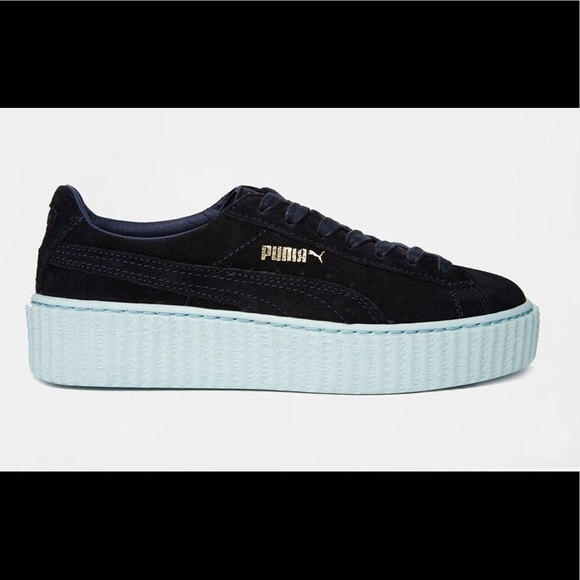 official photos 4f205 5be15 Fenty Puma Creepers - Navy & Light Blue